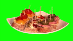 3 types of canapes on plate - stock footage