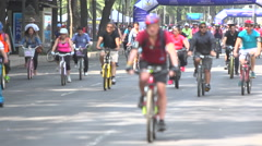 BPMX27-Mexico, hundreds of bikes on street. Tripod, wide, no faces, focus on BG. Stock Footage