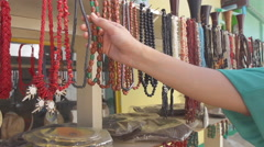 Handmade Coral Necklaces Make Perfect Souvenirs - stock footage