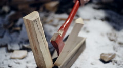 Forester chopping wood with an axe close up slow motion Stock Footage
