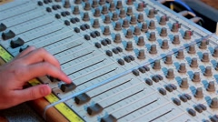 Audio engineer soundman is concerned with the recording, manipulation, mixing - stock footage