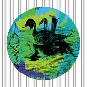Colorful vector duck in pool in eps Stock Illustration