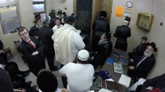 People pray in Itzkowitz synagogue, the busiest synagogue in the world Stock Footage