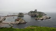 Dangerous, rocky shore line, reef, old abandon castle, seashores, Sile in winter - stock footage