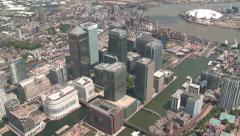 London Docklands and Banking District Aerial Footage Stock Footage