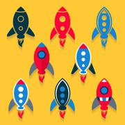 Rocket icons collection Stock Illustration