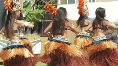 Polynesian dance troupe performing traditional dance Stock Footage