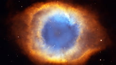 Jump in other reality through a space nebula. Nebula as eye Stock Footage