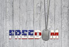 military dog tags freedom - stock illustration