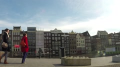 Street view of a Dutch canal in Amsterdam Stock Footage