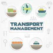 """Transport management"" phrase, transportation and tools Piirros"