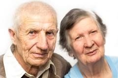 Portrait of grandparents on a white background Stock Photos