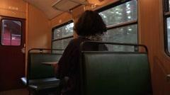 Stock Video Footage of 4k Steam locomotive travel Harz passenger inside wagon