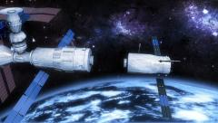 Orbital space station docking process in outer space Stock Footage