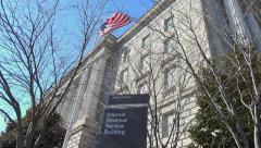 IRS Sign, flag, 4K - headquarters, Washingotn, DC Stock Footage