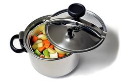 Pressure cooker stainless steel - stock photo