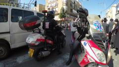 Paramedic on motorcycle with medical care hurry to help  Stock Footage