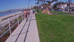 Bicycle Rider Viewpoint- Bluff Park- Long Beach CA Stock Footage