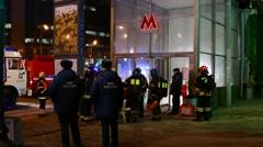 Rescue team training. Terrorist attack in subway simulation. Stock Footage