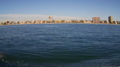 Long Beach California Shoreline From Boat In Harbor Stock Footage