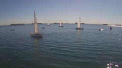 Ships And Boats On Ocean Off Long Beach CA Stock Footage