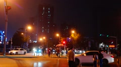 Shenzhen, China: city road traffic at night Stock Footage