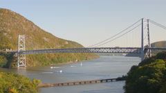 Bear Mountain Bridge & CSX Train Trestle - stock footage