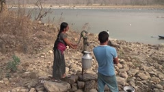 Nepal Hand Water Pump Stock Footage
