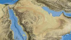 Saudi Arabia, glide over the map, outlined - stock footage