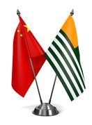China and Azad Kashmir - Miniature Flags Stock Illustration