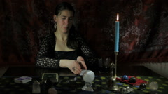 Gypsy Tarot Reader Giving Good News Stock Footage