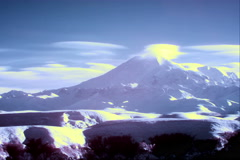 4K. InfraRed landscape: Movement of the clouds on the mountains Elbrus Stock Footage