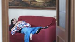 Depressed man sleeping on the sofa: problems, divorce, desperation, wakes up Stock Footage