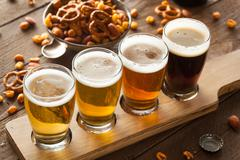 Assorted Beers in a Flight Stock Photos