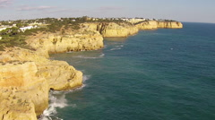 Aerial from natural rocks at Algar Seco Carvoeiro  Portugal Stock Footage
