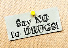 Recycled paper note pinned on cork board.Say No to Drugs Message. Concept Ima Stock Photos