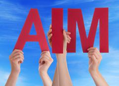 Many People Hands Holding Red Straight Word Aim Blue Sky Stock Photos