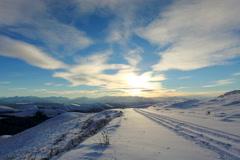 4K. Timelapse sunset in the mountains, Circumhorizontal arc, Northern Caucasus,  Stock Footage