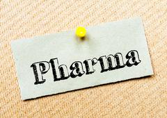 Recycled paper note pinned on cork board. Pharma Message. Concept Image - stock photo