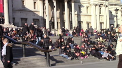 People on the Steps of Trafalgar Square Stock Footage