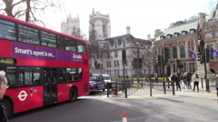 Traffic and Westminister Abbey Stock Footage