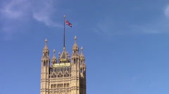 Union Jack Flying above Parliament Stock Footage