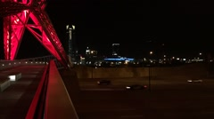 Time-lapse of Downtown Oklahoma City with Sky Dance Bridge Lights Stock Footage