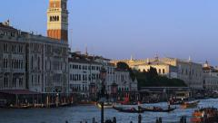 Boats on The Grand Canal and Campanile in Venice, Italy 4K Stock Video Footage Stock Footage