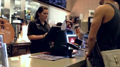 One side of check out counter at Mcdonald Stock Footage