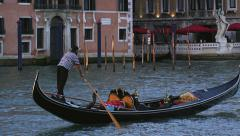 Gondolier on Gondola in Grand Canal Venice Italy 4K Stock Video Footage Stock Footage
