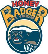 Honey Badger Mascot Claw Circle Retro - stock illustration