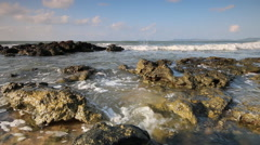Sea wave and rock in summer season Stock Footage
