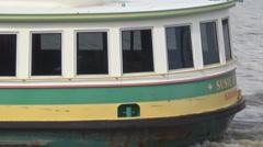 Port tour boat in Savannah Georgia Port Stock Footage