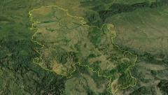 Serbia, glide over the map, outlined Stock Footage